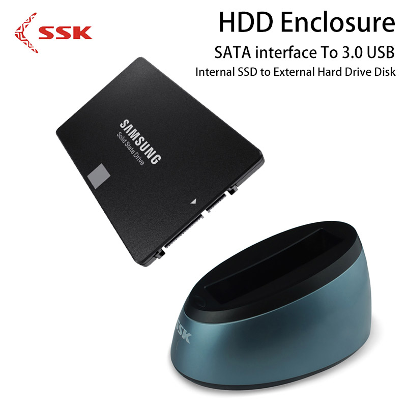 SSK HDD Enclosure 2.5 3.5 Inch SATA To 3.0 USB Internal SSD to External Hard Drive Disk Case DK-G300 Hard Disk Box for Computer. high quality 3 5 hdd enclosure sata to usb 3 0 external hard disk case black aluminum hdd box for computer