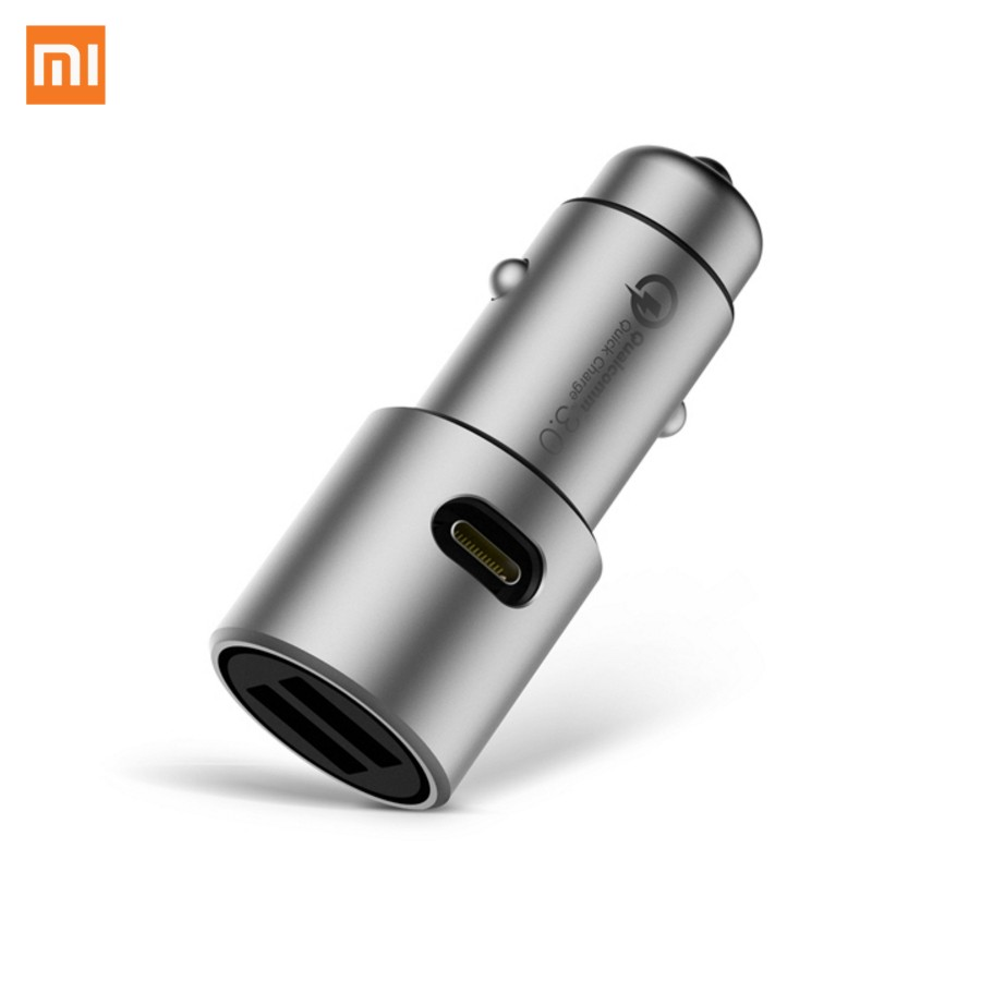 Xiaomi Metal Double USB Smart Central Charging Temperature Fast Charger MAX 36W DC 5/12/24V 2/3A wiht LED Car Charger