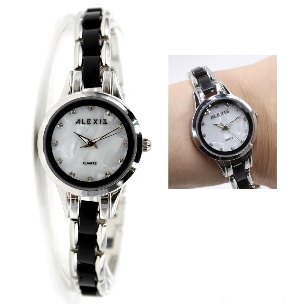 brand luxury wristwatch new shiny silver with black