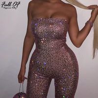 Sexy Bling Summer Sequins jumpsuit Women Strapless Shining bodysuit Luxury Nightclub queen Party rompers womens jumpsuit short