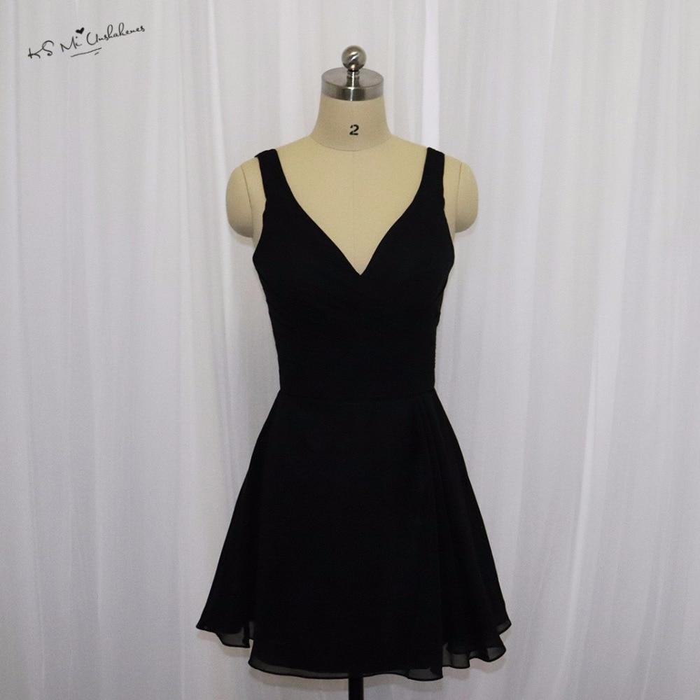 Vestido De Festa Curto Cheap Black Bridesmaid Dresses
