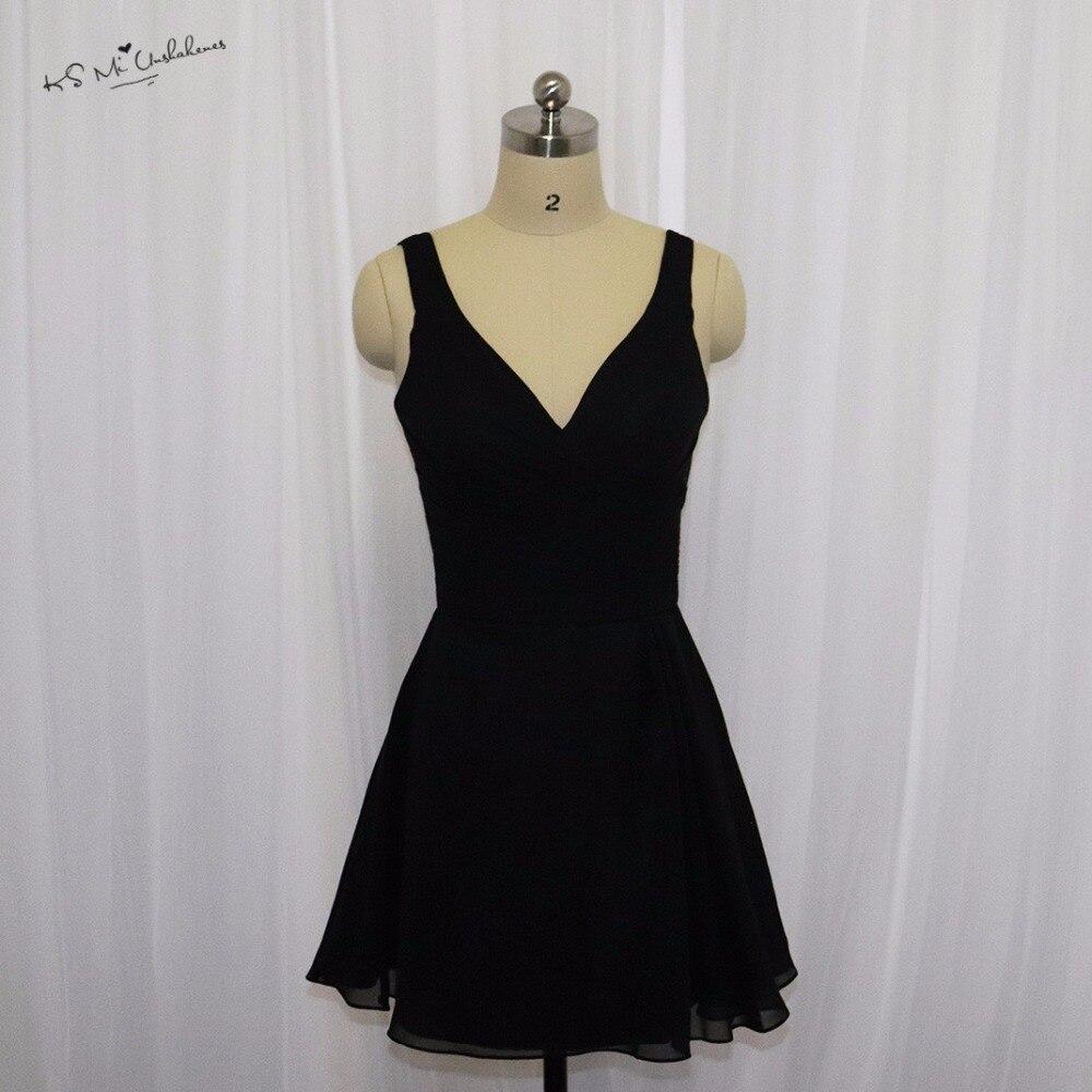 Vestido de Festa Curto Cheap Black   Bridesmaid     Dresses   Short Halter Chiffon Knee Length Wedding Guest   Dress   2017 Party Wear Sexy