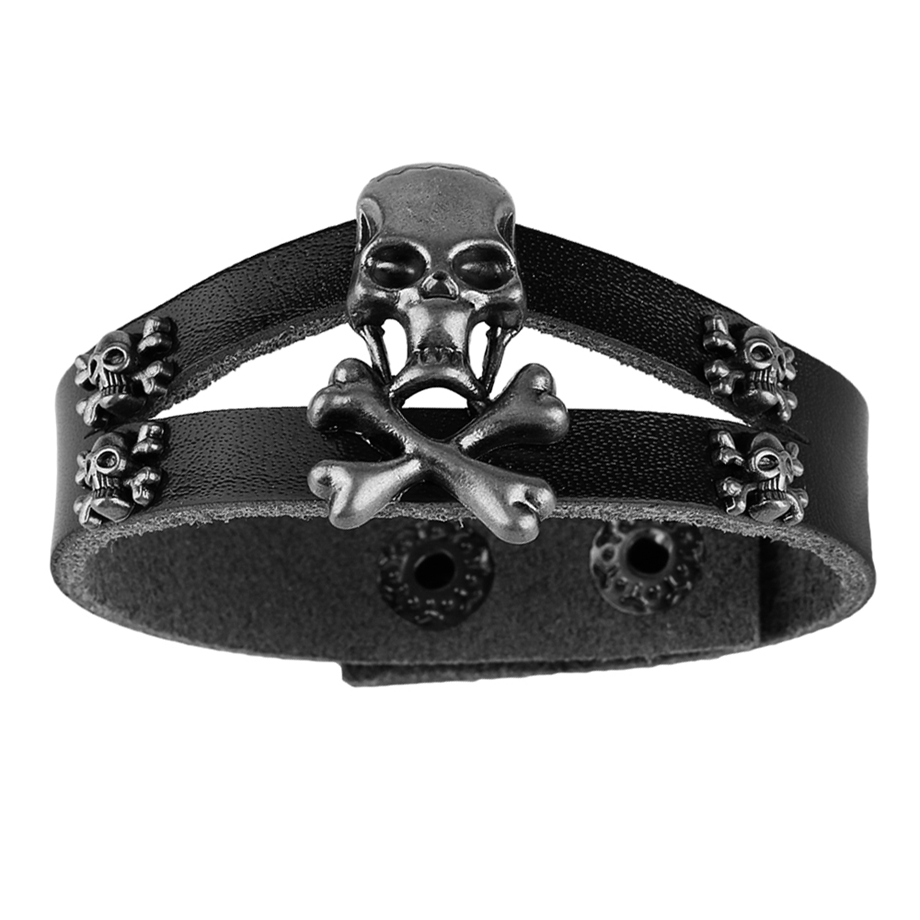 2018 Hot Sale New Pirates of the Caribbean Skull Leather Bracelet Black Bangle Gift for Women Men Jewelry Accessories