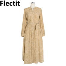 купить Flectit Floral Dress Button Up V Neck Long Sleeve with Bow Tie Side Slit Flower Midi Dress Womens Fall Vintage French Chic * онлайн