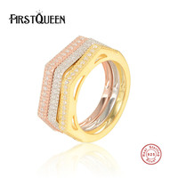 FirstQueen New Collection 925 Sterling Silver Finger Ring Set Clear CZ Vintage Ring For Women Sterling