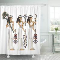 Shower Curtain Anubis Ancient Culture Murals with Egypt Scene Cairo Egyptian Africa Amulet Amun Bathroom Curtains