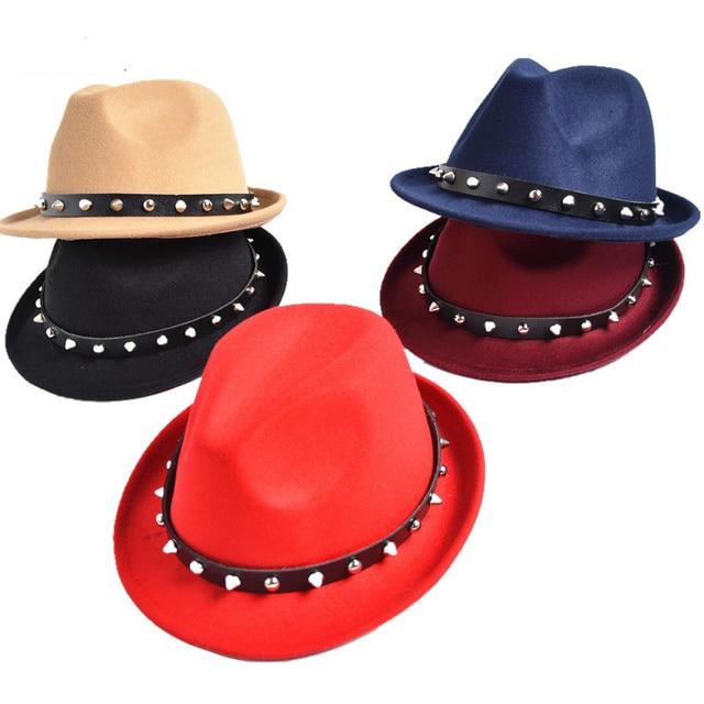 ff7e1bcd323231 Unisex wool felt hat cap jazz Fedora Hats with Rivet Stingy Brim Dance  Perform Caps panama trilby chapeau for men women