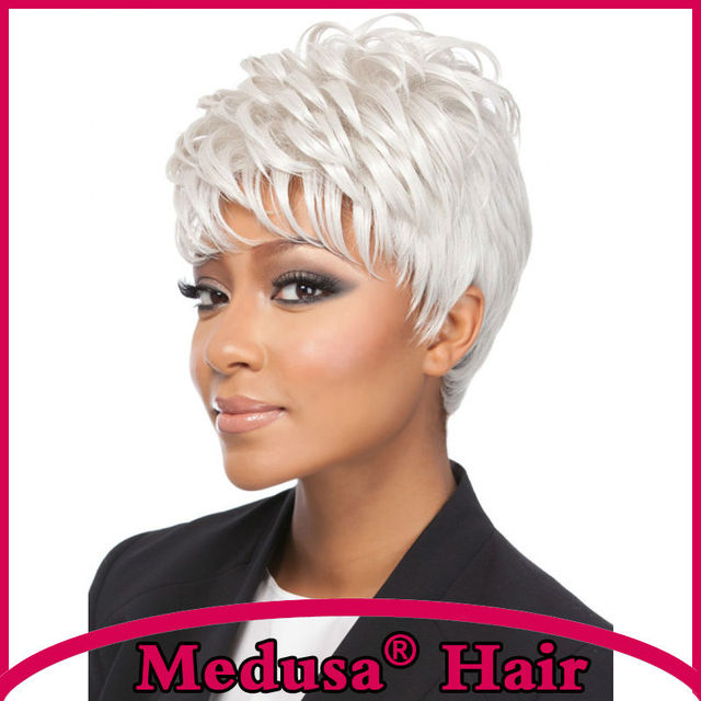 Medusa hair products: Alluring pixie cut style Synthetic pastel wigs Short straight White wig with bangs Pelucas cortas SW0274B