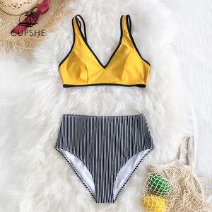 Image 3 - Cupshe Giallo E Nero Della Banda a Vita Alta Del Bikini Due Pezzi Costumi da Bagno Delle Donne 2020 Della Ragazza Della Spiaggia Costumi da Bagno