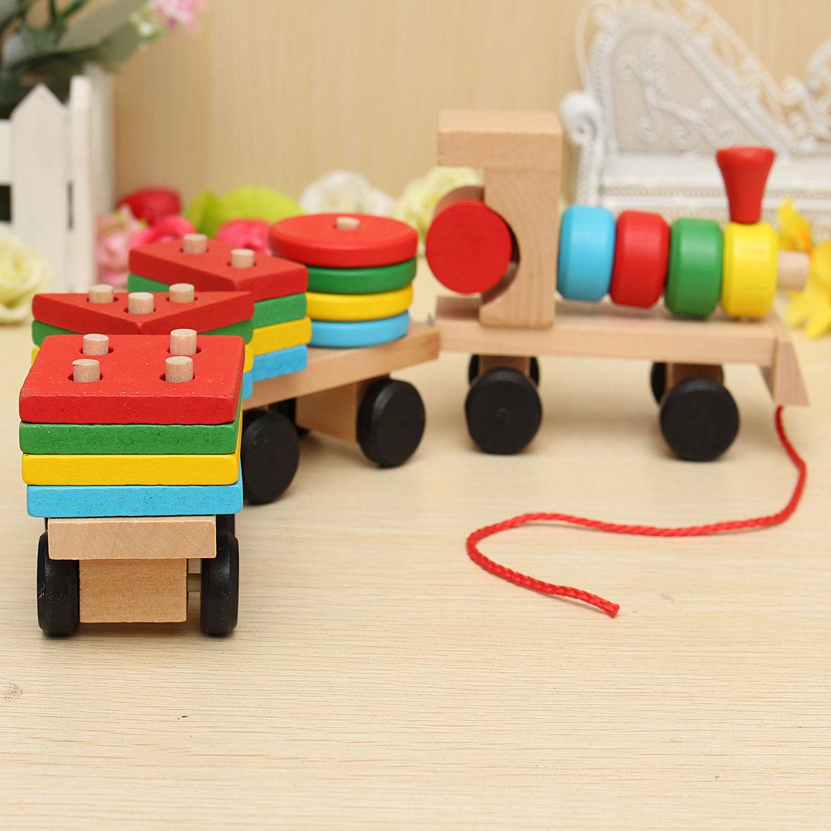 New Children's Educational Toy Wood Bricks Train Toys ...