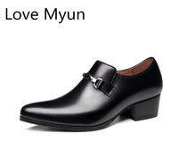 Men's high heels genuine leather dress shoes men formal suit wedding shoes height increase business office career work man shoes