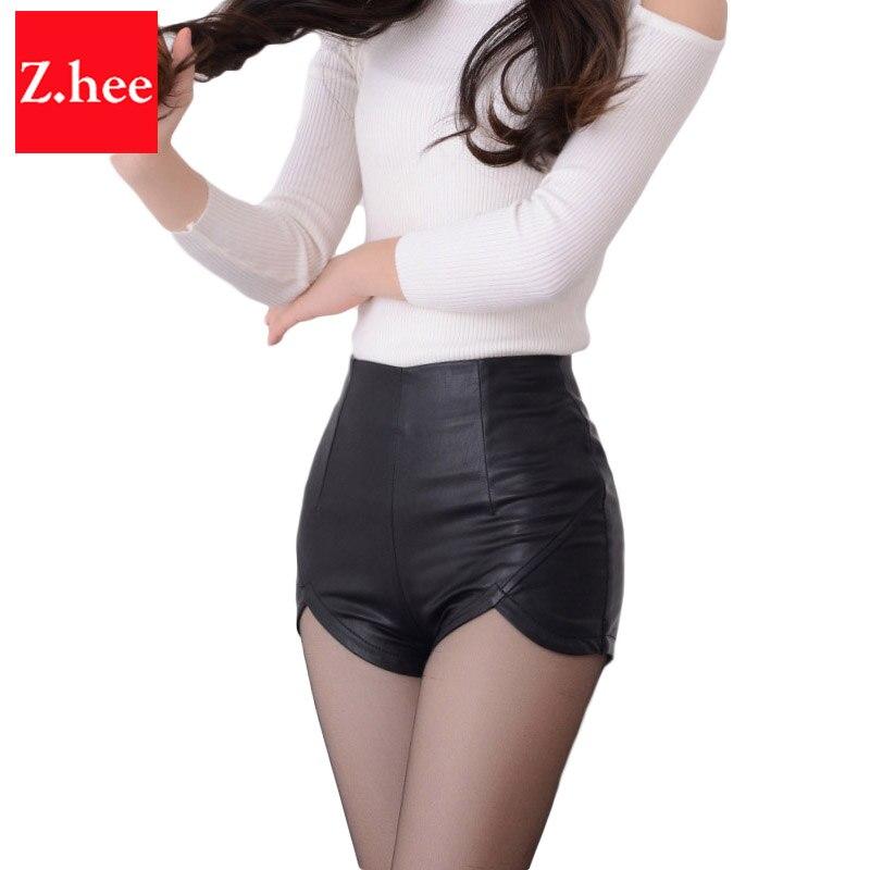 32d9805518 Sexy Ajustados pantalones de Cintura Alta de LA PU shorts de cuero De Las  Mujeres de Talle Alto Delgado de LA PU Pantalones Cortos de cuero Femme  Shorts ...