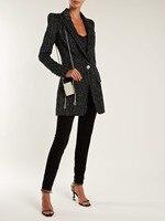 Черный бархатный костюм Блейзер серебристый металлик в тонкую полоску полосатый однобортный пуговица с тиснением структурное пальто женщ