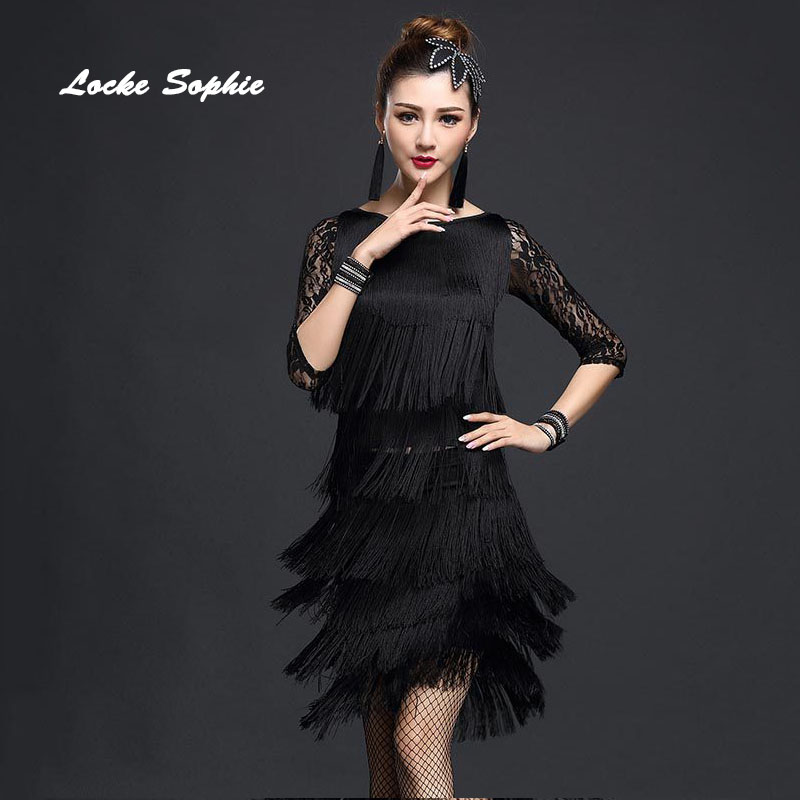 d6975d97bc8 1pcs Women s latin dance dress 2018 Lace Tassels Mosaic dance costume  dresses ladies Skinny latin dance ballroom dress girls-in Latin from  Novelty   Special ...