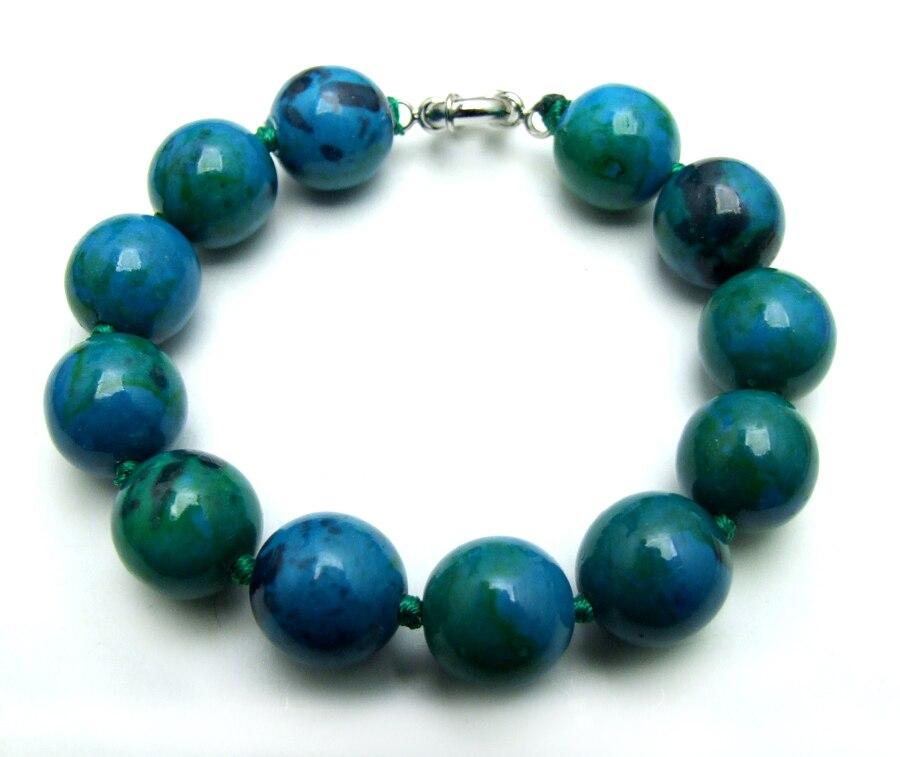 Qingmos Natural Chrysocolla Bracelet for Women with 14mm Round Green Chrysocolla Gem Stone Bracelet Jewelry bra167 Free Shipping