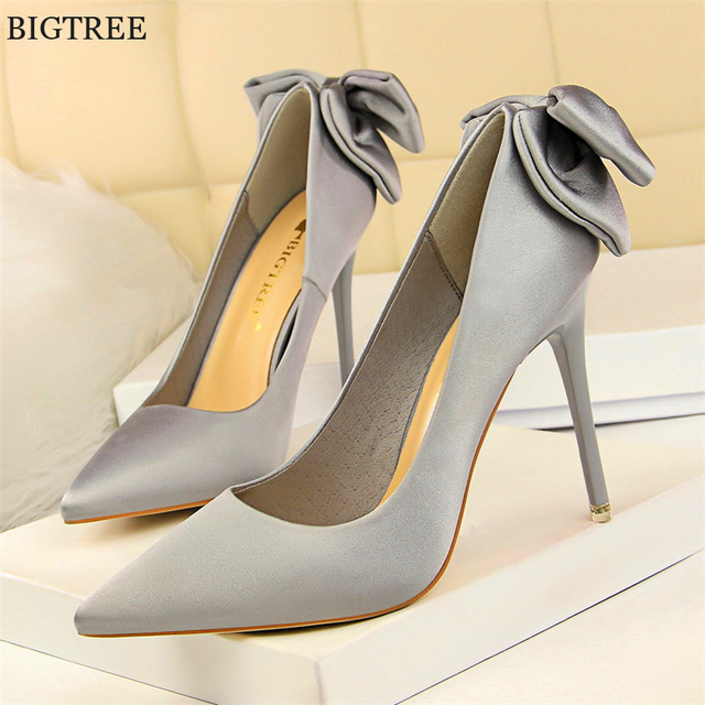 Solid Silk Sweet Butterfly-knot Women Shoes 2018 New Arrival Pointed Toe High  Heels Shoes 8107b3124b38