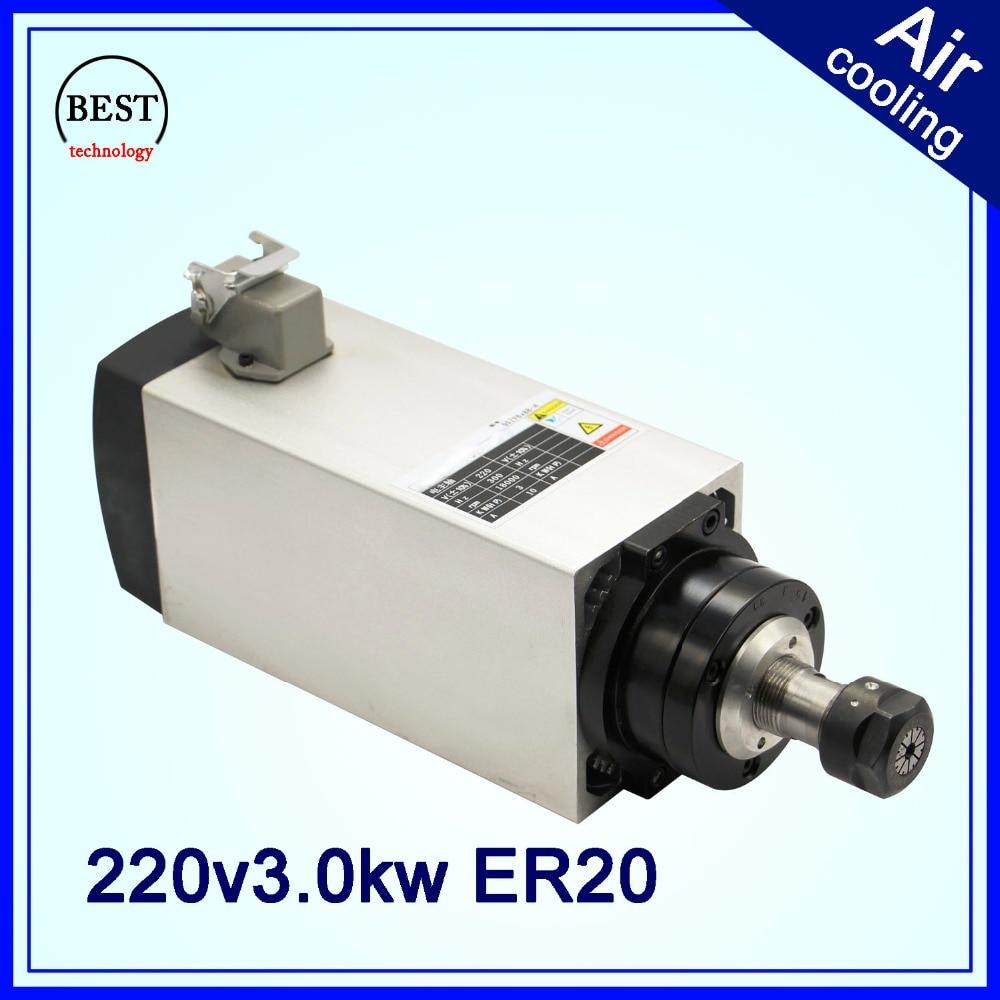 3 KW AC moteur de broche ER20 refroidi par Air CNC machine de travail du bois CNC routeur axe carré moteur CNC broche de gravure 4 roulements