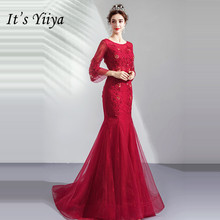 It's YiiYa Mermaid Evening Dress Beading Crystal Wine Red Long Formal Trumpet Dresses O-neck Lace Lantern Sleeve Party Gown E145 недорого