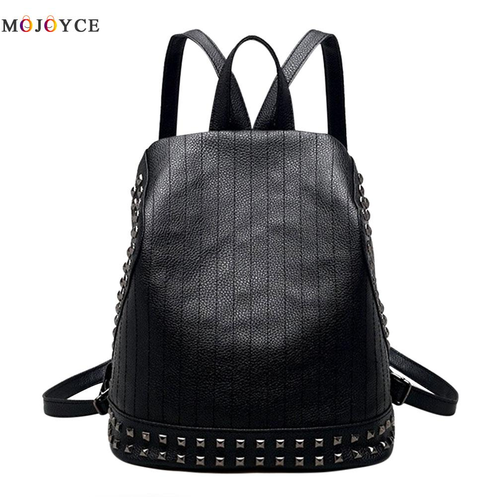 Korean Backpacks Fashion Rivet Small Shoulder Bag PU Leather Backpack Embossed School Bags Backpack Women