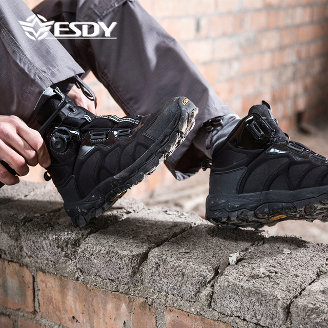 Men Hiking Camping Shoes Waterproof Automatic Lock Tactical Military Walking Sneakers Mens Outdoor Climbing Trekking Shoe