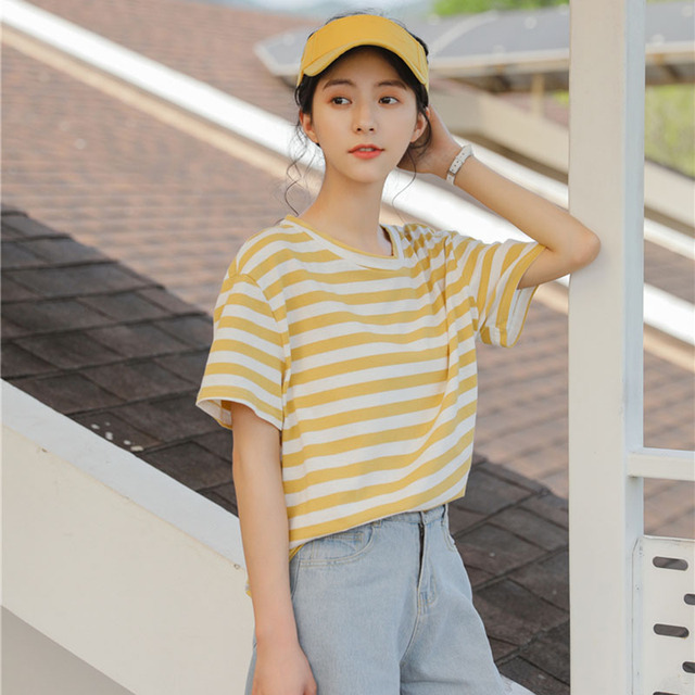 acc1c413dba Harajuku Lolita Style Striped Tops T shirt Women Summer 2018 Korean Fashion  Short Sleeve Yellow Loose