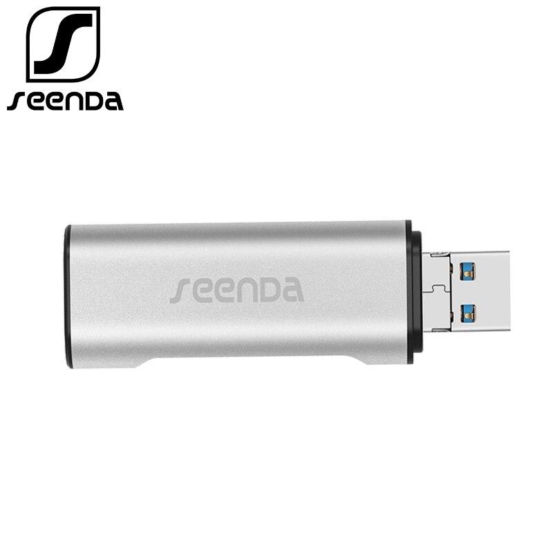 SeenDa USB 3,0 lector de tarjetas OTG adaptador micro USB portátil SD/TF tarjeta de memoria lector aluminio USB 3,0 HUB para PC Xiaomi Samsung