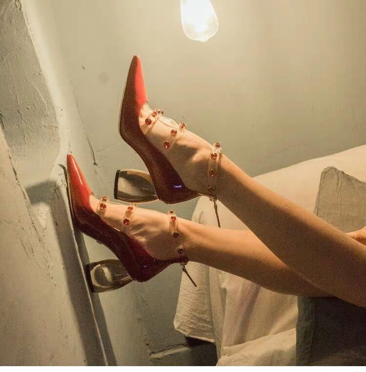 Chic Pvc Femme Femmes Embelli En Rivets Métal De Chaussures as Cuir Transparent Talons Hauts Au Pic Pic Glissière Couleur À Dos Pompes Verni As rpxqrwX480