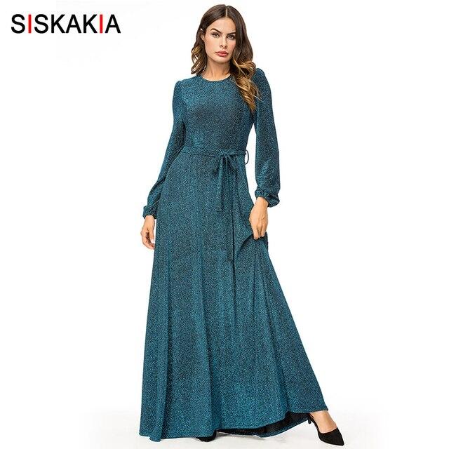 27423ea13c2 Siskakia Women Long Dress Dinner Evening Slim High Waist Swing Maxi Dresses  Solid Formal Party Wear Autumn Dress with Slim Sash