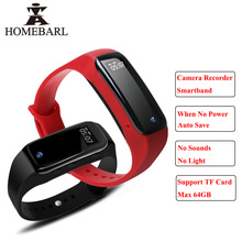 Full HD Камера диктофон Bluetooth Смарт Браслет монитор Водонепроницаемый SmartBand браслет Android IOS трекер