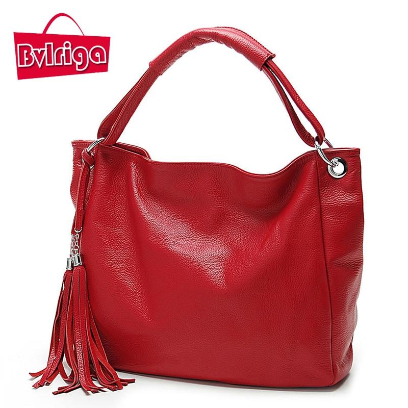 BVLRIGA Women leather handbags Tassel shopping bag big women leather handbags wo