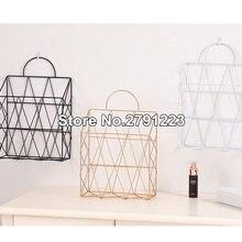 Металлическая корзина для хранения, настенный стеллаж для хранения в скандинавском стиле, железный стол, органайзер для газет, держатель для украшения стен