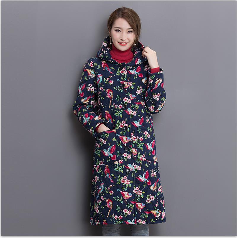 Yeni Artı Boyutu Sonbahar Kış Ceket Kadınlar Pamuk Yastıklı Uzun Çiçekli Ceket Retro Moda Parka Kadın Ceket