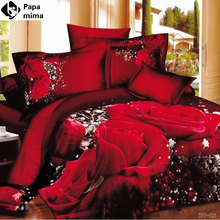Red Rose wedding gift 4pcs 3D bedding set luxury 100 Cotton bedsheet Duvet Cover Set pillow cases