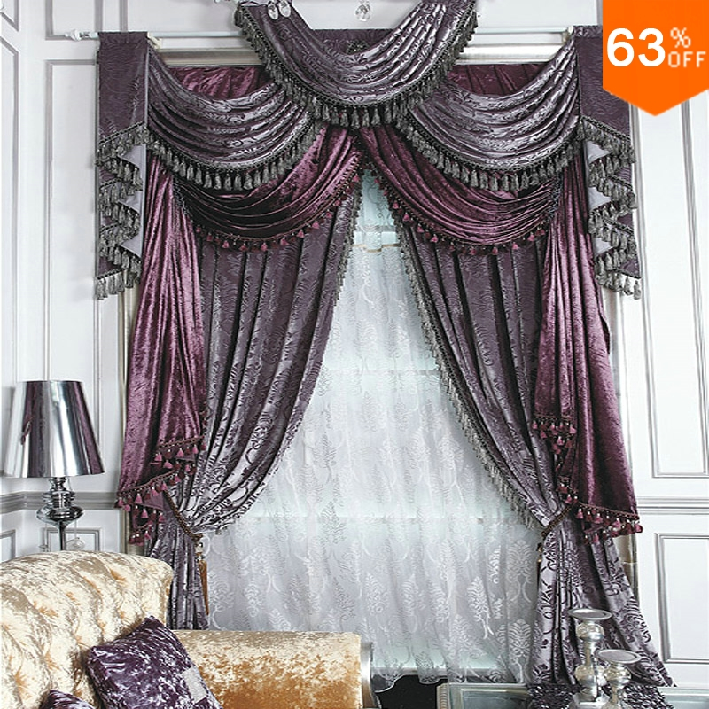 Purple Grey Roman Stick Rod Silver Grey Curtains For Restaurant Curtain Classic Elegant Living Room Curtains