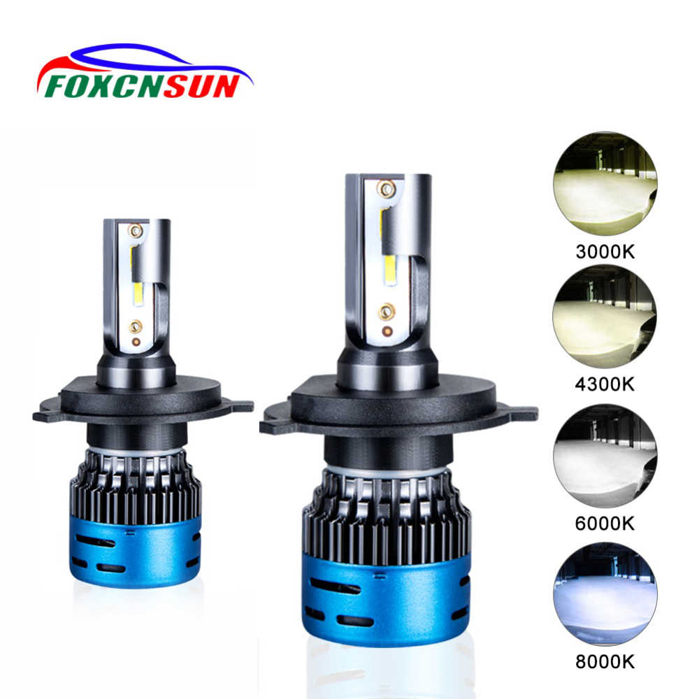 FOXCNSUN LED H4 H7 LED Car headlight bulb Hi Lo beam H1 H3 H11 H8 9005 9006 HB3 HB4 4300K 3000K 6500K 8000K 9600lm 1860 chip 50W
