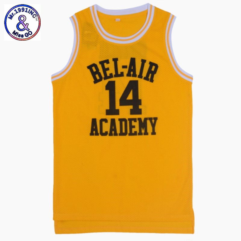 US SIZE The Fresh Prince Of Bel Air Academy Jersey #25 #14 Will Smith Black Yellow Men Jersey Throwback Stitch Jerseys Drop Ship