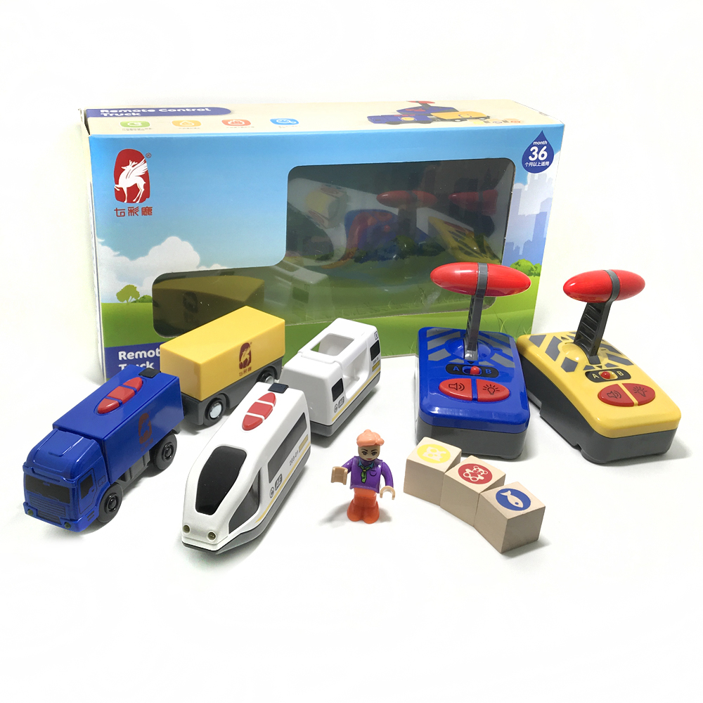 Toy Car Track White Harmony Train And Blue Track Combination Remote Control Electric Car Toy Boy Gift Fit Brio Track