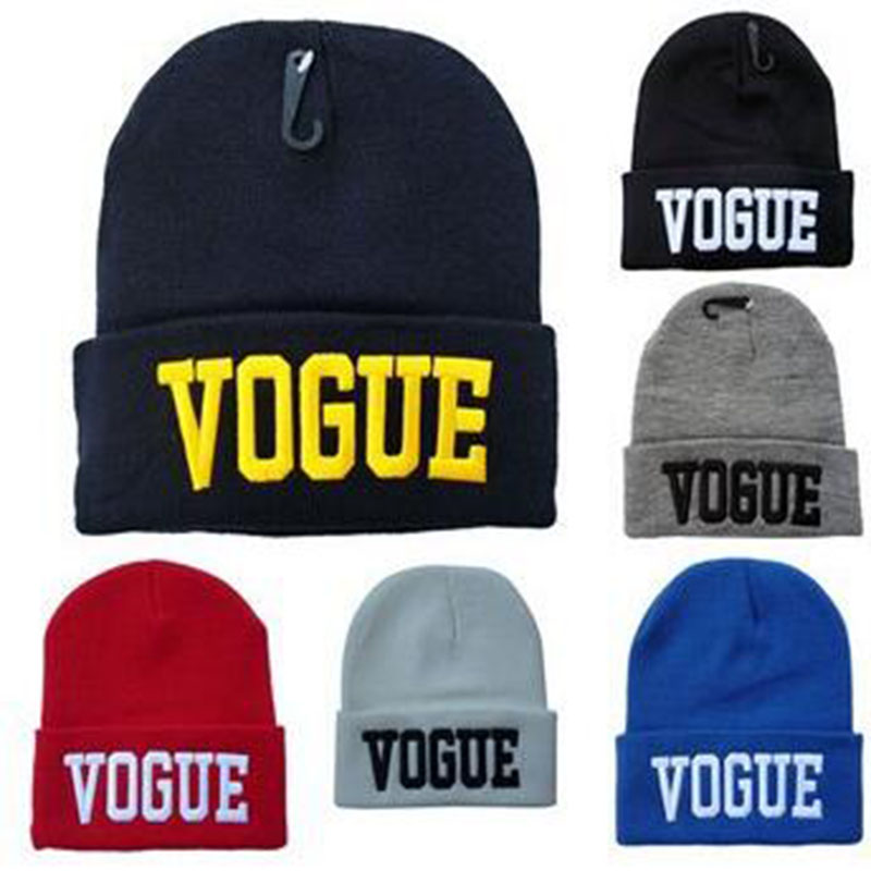Fashion Hip-Hop Hat VOGUE Skullies Beanies Hats for Women Wool Knitted Hat Cap Men Letter Hat Gorra Bonnet Free Shipping 1MZ0279 wool skullies cap hat 10pcs lot 2289