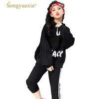 Children Hip Hop Suit Woman Hip hop Long Sleeve Easy Autumn Sweater. A Juvenile Hip Hop Show Serve Sir Dance Tide