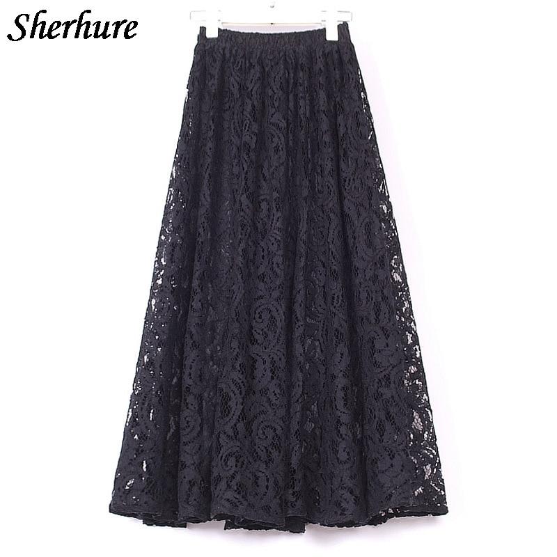 Summer Skirts Women Lace Slim A-Line Skirt Elastic High Waist Long Skirt Female Elegant Pleated Maxi Skirt Jupe Femme Hollow Out
