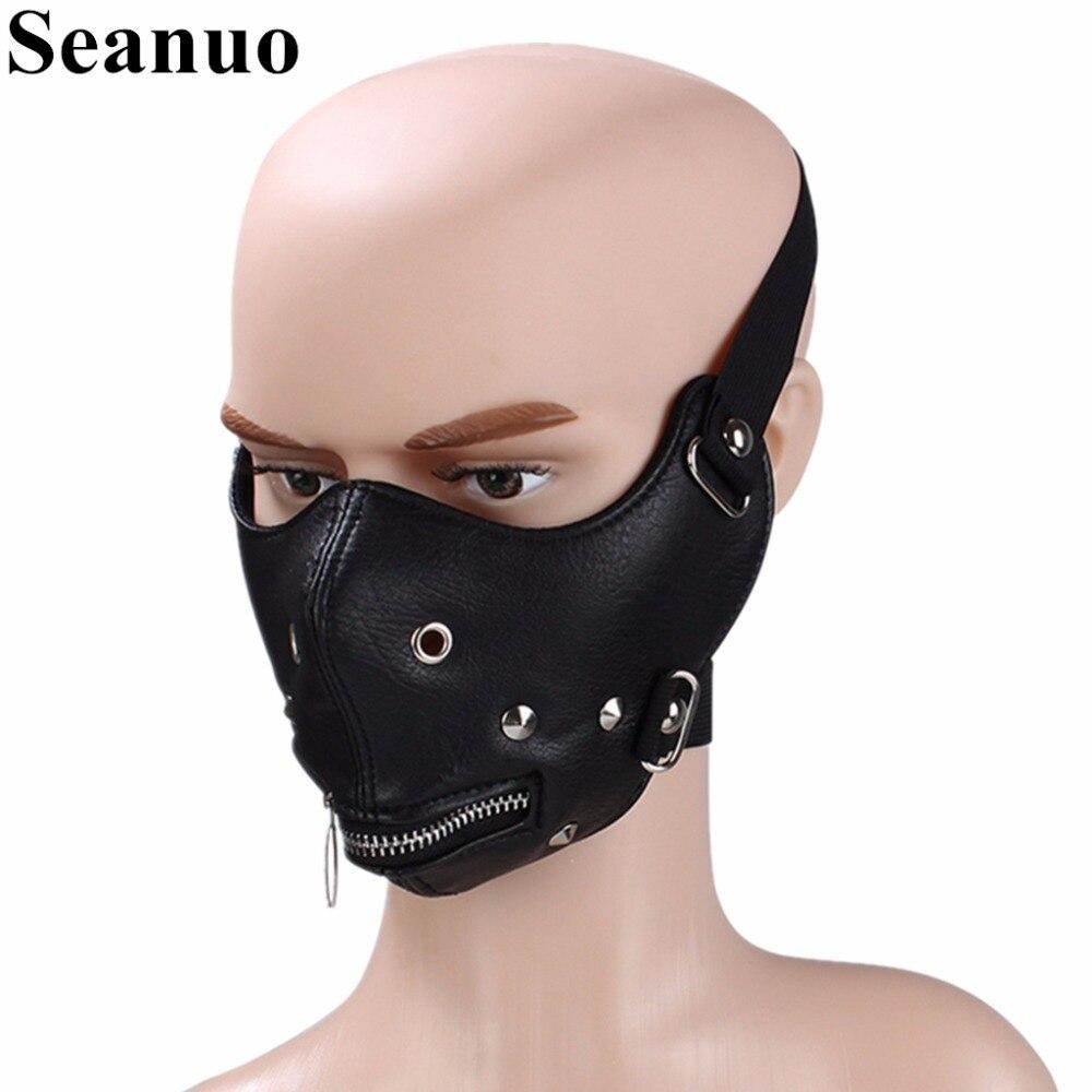 Seanuo Cosplay Masks Tokyo Ghoul Kaneki Ken Adjustable Zipper Real Leather Mask Men Steampunk Rock Halloween Women Biker Masks new japanese anime tokyo ghoul kaneki ken cosplay mask halloween prop zipper mask