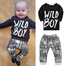 New 2017 fashion baby boy clothes baby clothing set cotton long-sleeved printed t-shirt+pants newborn baby girl clothing