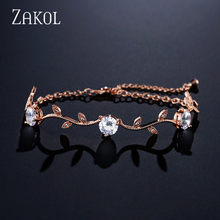 ZAKOL Trendy Bride Jewelry Sliver Color Leaf Charm Cubic Zirconia Bracelet & Bangles Clear CZ Crystal Bangles For Women FSBP177(China)
