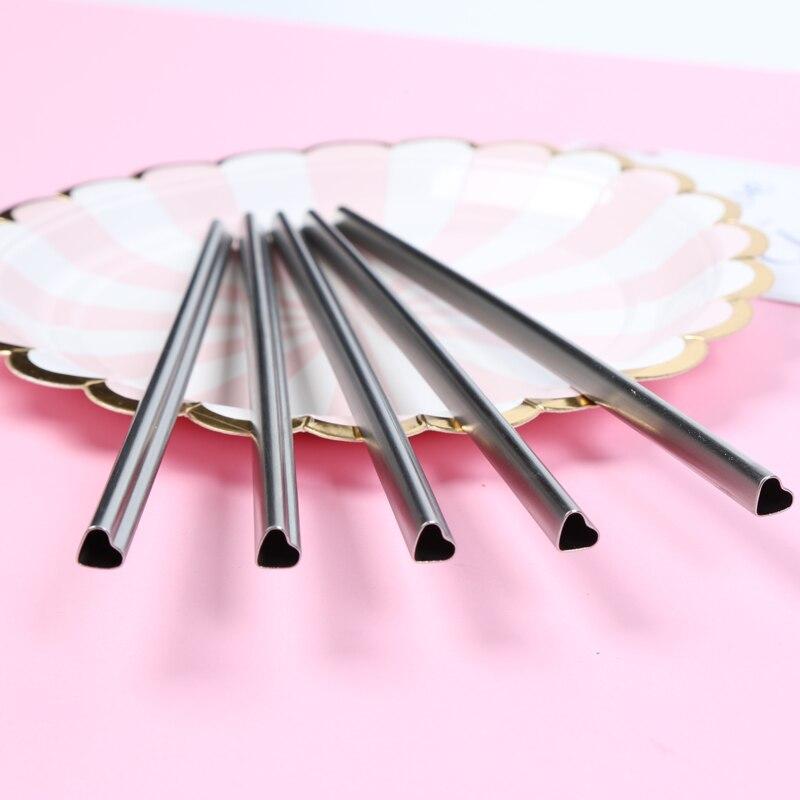 100 pcs/lot en forme de coeur en acier inoxydable métal pailles à boire réutilisable Portable e-co Tubes amicaux 215mm * 8mm pour tasse 20/30 oz
