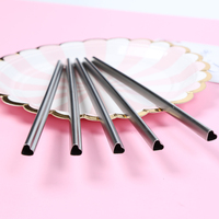100pcs/lot HEART Shaped Stainless Steel Metal Drinking Straws Reusable Portable E co Friendly Tubes 215mm*8mm For 20/30 oz Mug