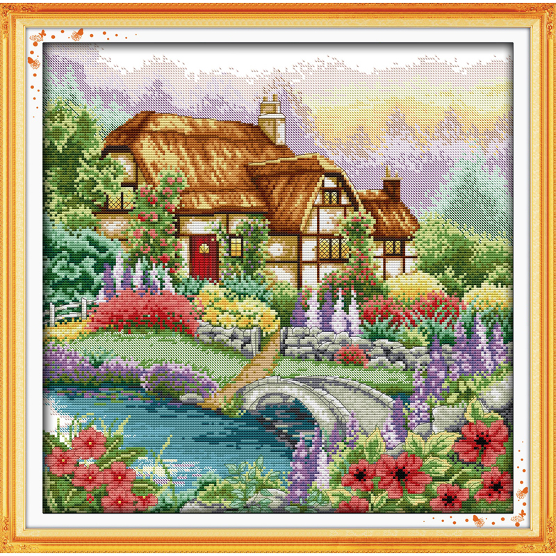 Cabin with the fragrance of flowers Chinese cross stitch kits Ecological cotton printed 11CT 14CT DIY Christmas decorations gift