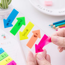 Fluorescência arco íris flecha autoadesiva, notas adesivas, marcador de notas, bloco de notas, ponta-lo, bandeira adesiva note, material de escritório escolar