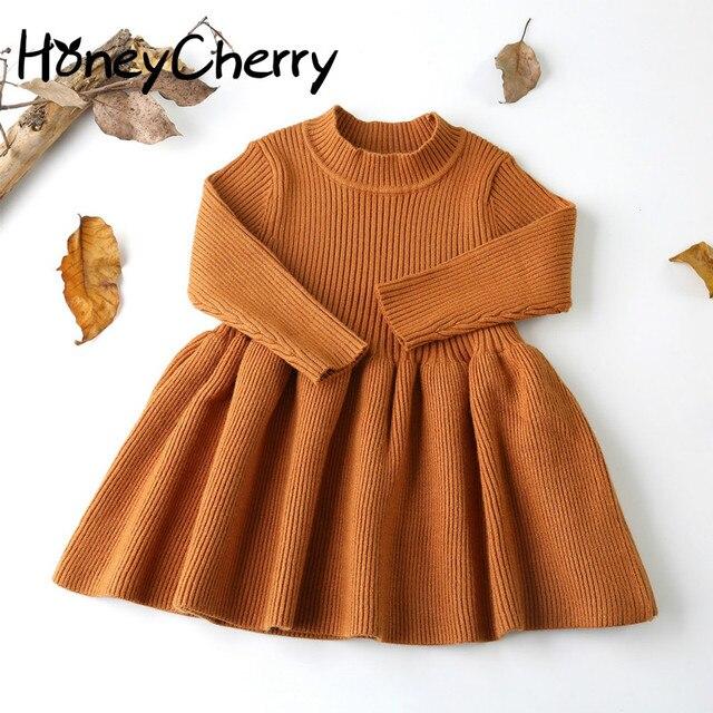 0ea6b720 2019 Otoño Invierno niñas lana suéter tejido bebé niña vestido niñas  vestidos para fiesta y boda