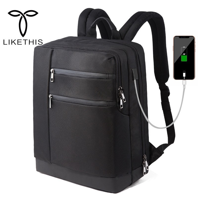 LIKETHIS Business Backpack Laptop Men USB Backpack Solid Color Fit 15.6 Inch Laptop Multi-compartment Backpack For Teenagers retro style two front pockets laptop compartment vintage canvas solid color backpack