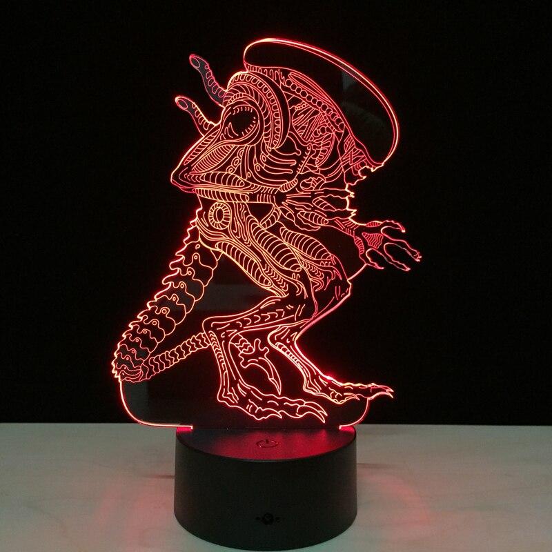 Alien vs Predator 3D éclairage lampe d'ambiance 7 couleurs changeantes lampara avec câble USB amis cadeau d'anniversaire décor à la maison livraison directe